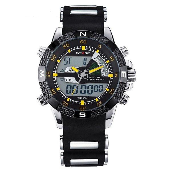 Relógio Masculino Weide AnaDigi Esporte WH-1104 - Preto, Prata e Amarelo