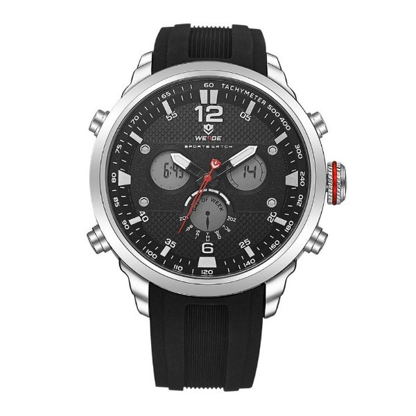 Relógio Masculino Weide AnaDigi WH-6303 - Preto e Prata