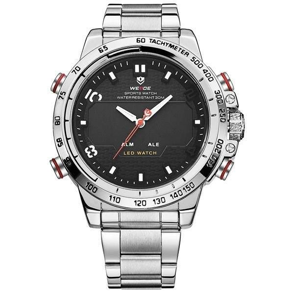 Relógio Masculino Weide AnaDigi WH-6102 - Prata e Preto