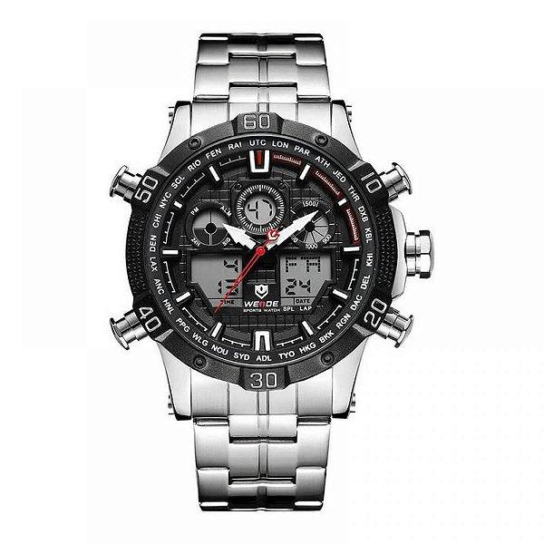 Relógio Masculino Weide AnaDigi WH-6901 - Prata e Preto