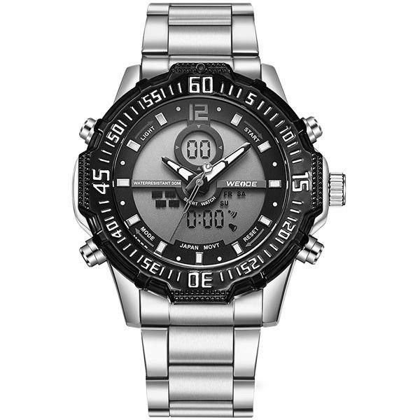 Relógio Masculino Weide AnaDigi WH-6105 - Prata e Preto