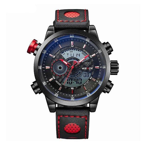 Relógio Masculino Weide AnaDigi WH-3401-C - Preto e Vermelho