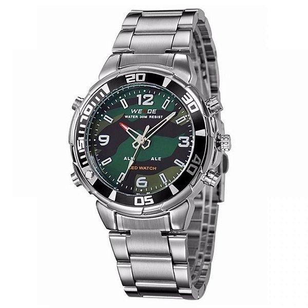 Relógio Masculino Weide AnaDigi WH-843 - Prata e Camuflado