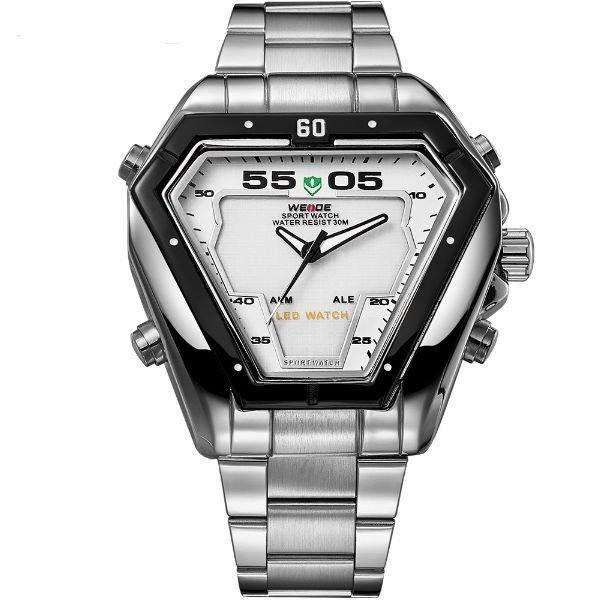 Relógio Masculino Weide AnaDigi WH-1102 - Prata e Branco