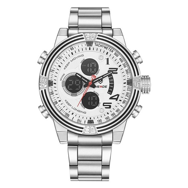 Relógio Masculino Weide AnaDigi WH-5209 - Prata e Branco