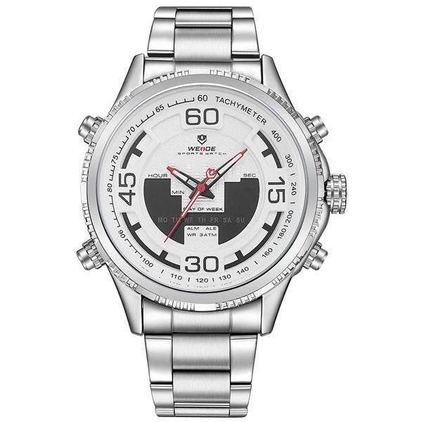 Relógio Masculino Weide AnaDigi WH-6306 - Prata e Branco