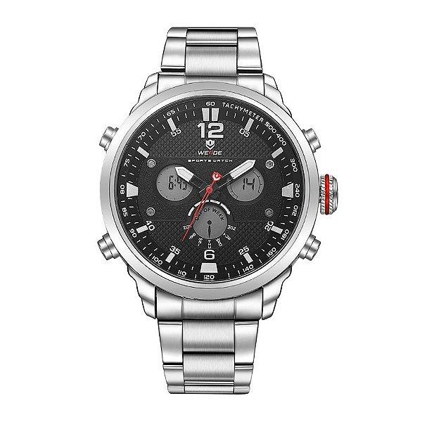 Relógio Masculino Weide AnaDigi WH-6303 - Prata e Preto