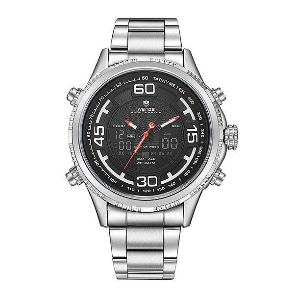 Relógio Masculino Weide AnaDigi WH-6306 - Prata e Preto