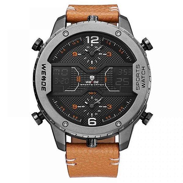 Relógio Masculino Weide AnaDigi WH-6401 - Marrom e Cinza