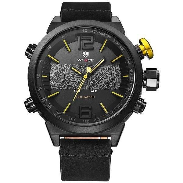 Relógio Masculino Weide AnaDigi WH-6101 - Preto e Amarelo