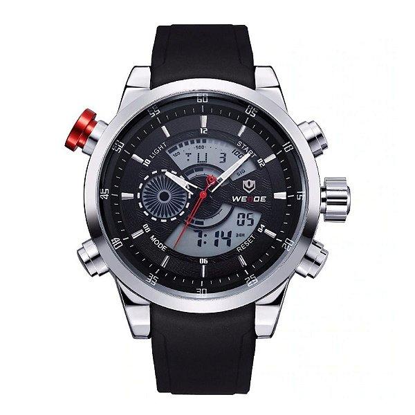 Relógio Masculino Weide AnaDigi WH-3401 - Preto e Prata
