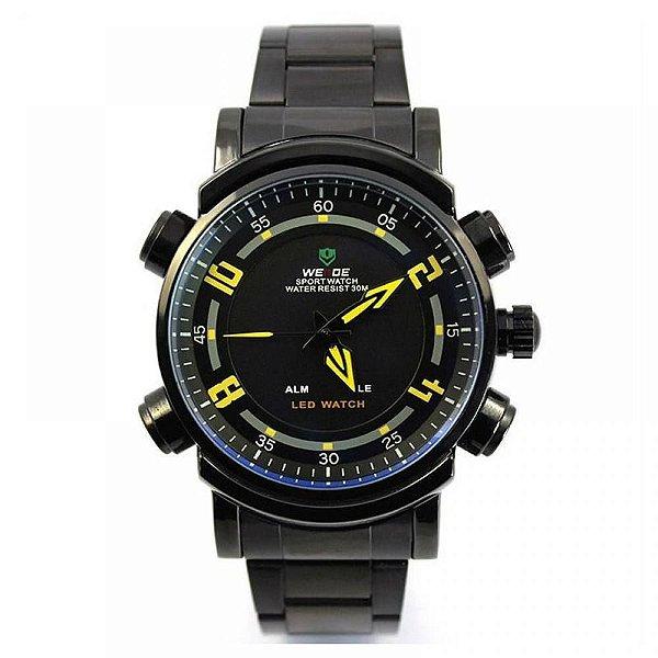 Relógio Masculino Weide AnaDigi WH-1101 - Preto e Amarelo