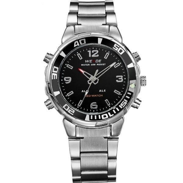 Relógio Masculino Weide AnaDigi WH-843 - Prata e Preto