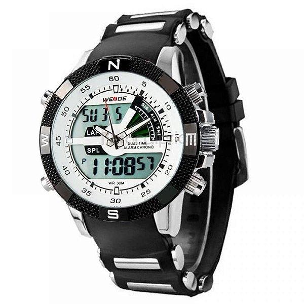 Relógio Masculino Weide AnaDigi Esporte WH-1104 - Preto, Prata e Branco