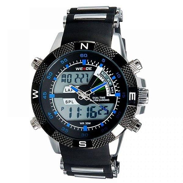 Relógio Masculino Weide AnaDigi Esporte WH-1104 - Preto, Prata e Azul