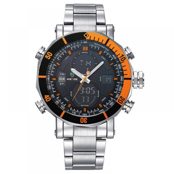 Relógio Masculino Weide AnaDigi WH-5203 - Prata e Laranja