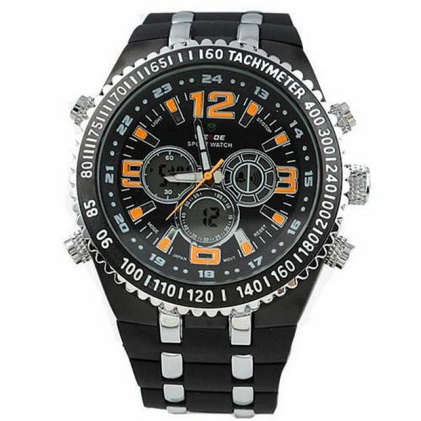 Relógio Masculino Weide AnaDigi WH-1107 - Preto, Prata e Laranja