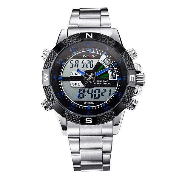 Relógio Masculino Weide AnaDigi WH-1104 - Prata e Azul