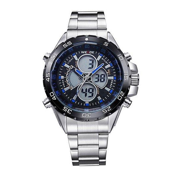 Relógio Masculino Weide AnaDigi WH-1103 - Prata e Azul