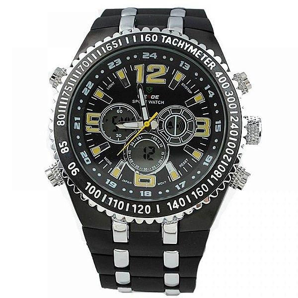 Relógio Masculino Weide AnaDigi WH-1107 - Preto, Prata e Amarelo