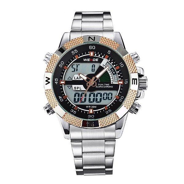 Relógio Masculino Weide AnaDigi WH-1104 - Prata e Dourado