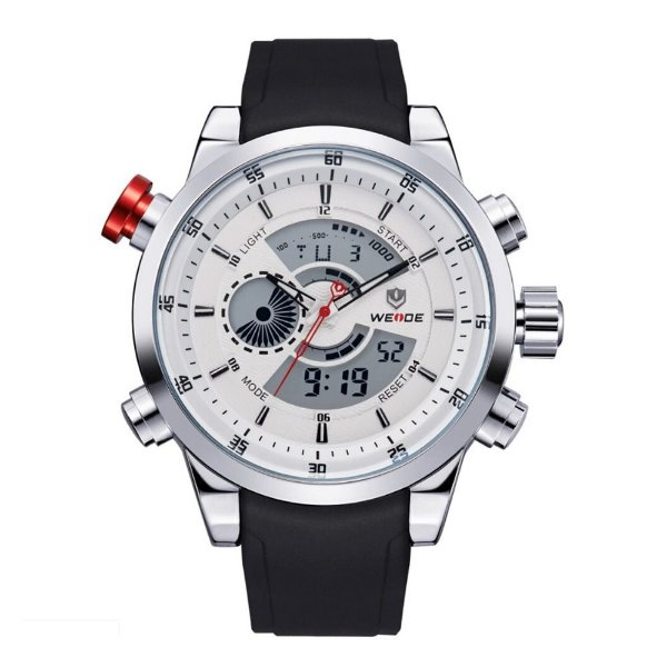 Relógio Masculino Weide AnaDigi WH-3401 - Preto, Prata e Branco