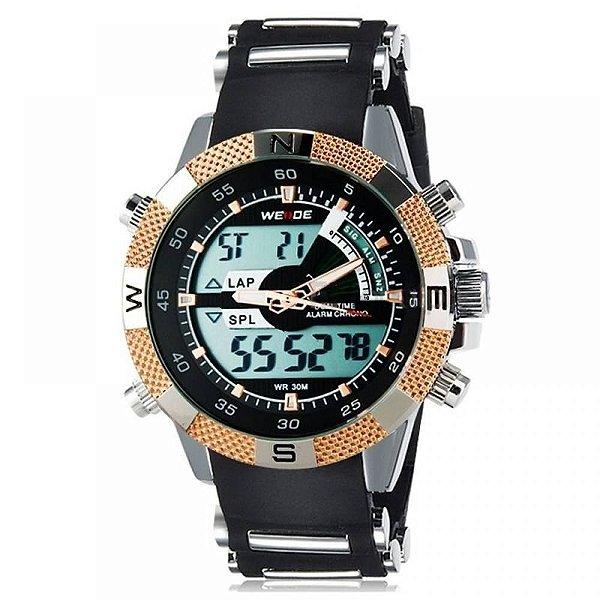 Relógio Masculino Weide AnaDigi Esporte WH-1104 - Preto, Prata e Dourado