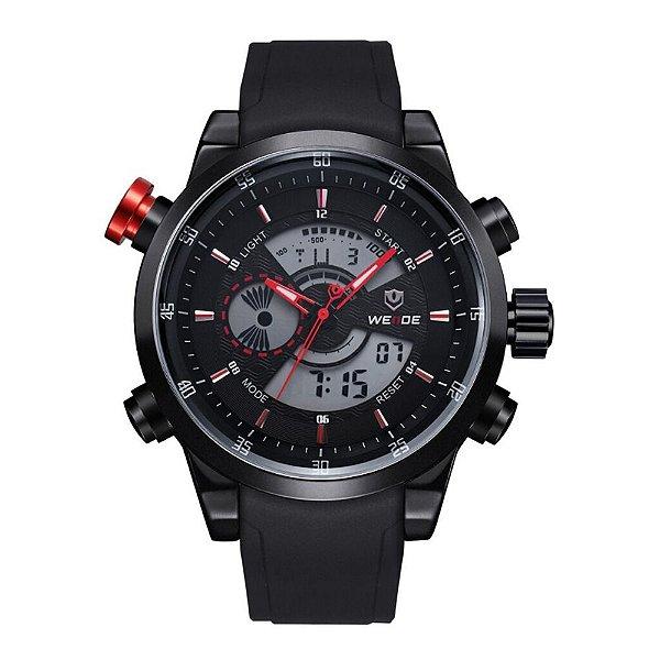 Relógio Masculino Weide AnaDigi WH-3401 - Preto e Vermelho