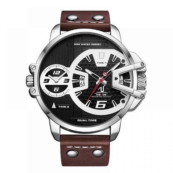 Relógio Masculino Weide Analógico UV-1702 - Marrom, Prata e Preto