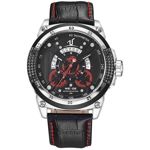 Relógio Masculino Weide Analógico UV-1605 - Preto, Prata e Vermelho