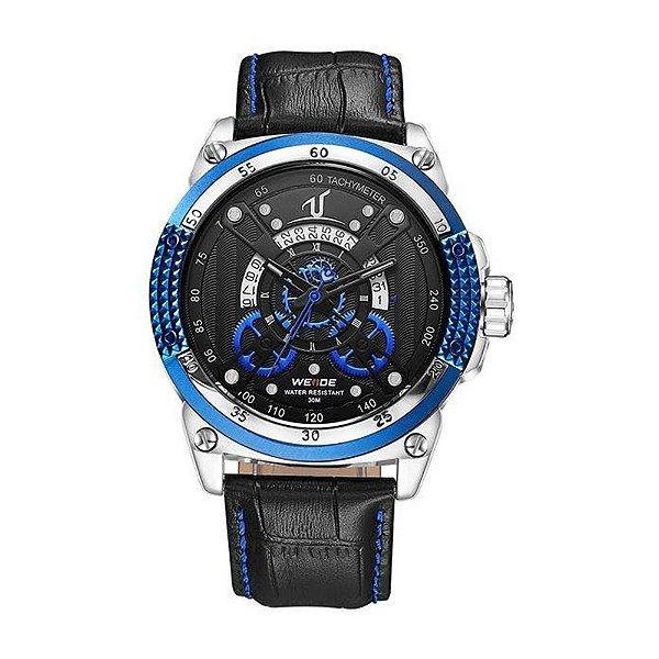 Relógio Masculino Weide Analógico UV-1605 - Preto, Prata e Azul
