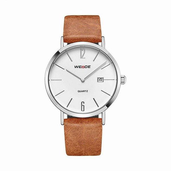 Relógio Masculino Weide Analógico WD007 - Marrom, Prata e Branco