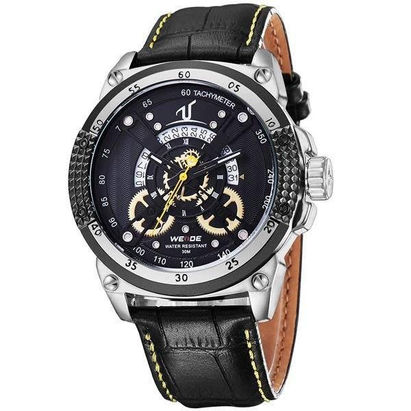 Relógio Masculino Weide Analógico UV-1605 - Preto, Prata e Amarelo