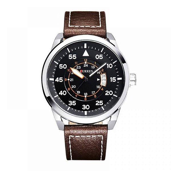 Relógio Masculino Curren Analógico 8210 - Marrom, Prata e Preto
