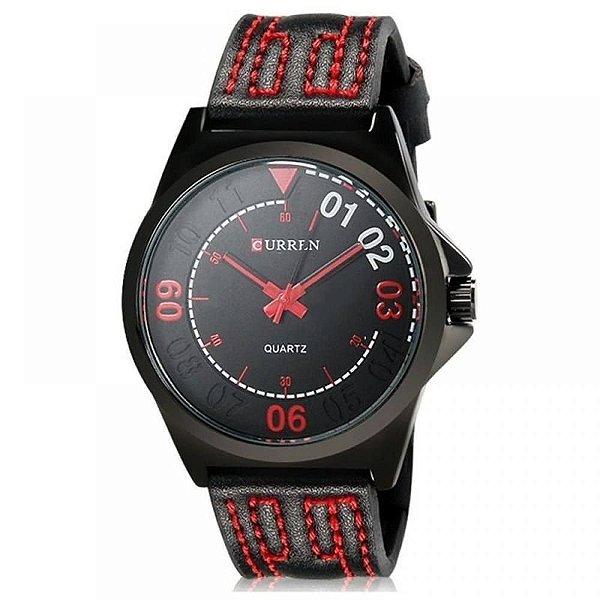 Relógio Masculino Curren Analógico 8153 - Preto e Vermelho