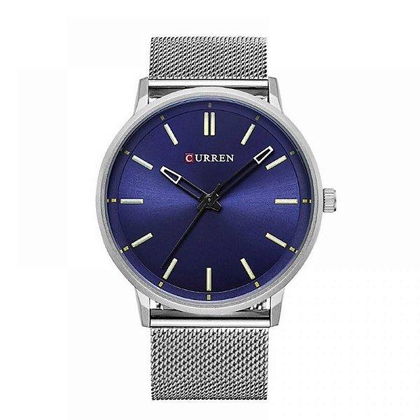 Relógio Masculino Curren Analógico 8233 - Prata e Azul