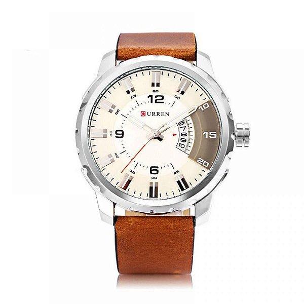 Relógio Masculino Curren Analógico 8245 - Marrom e Prata
