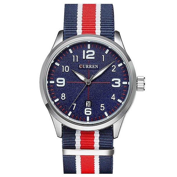 Relógio Masculino Curren Analógico 8195 - Azul, Vermelho, Branco e Prata