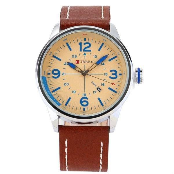 Relógio Masculino Curren Analógico 8215 - Marrom e Prata