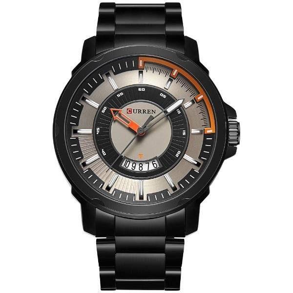 Relógio Masculino Curren Analógico 8229 - Preto, Prata e Laranja