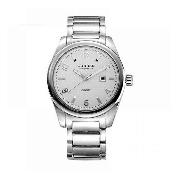 Relógio Masculino Curren Analógico 8048 - Prata e Branco