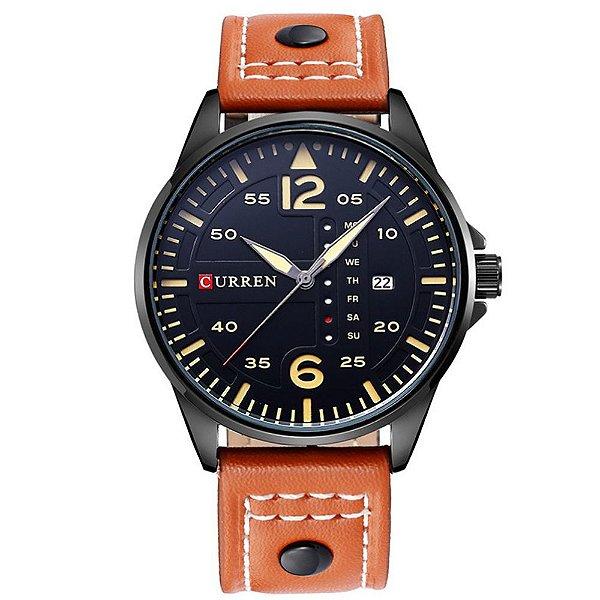 Relógio Masculino Curren Analógico 8224 - Marrom e Preto