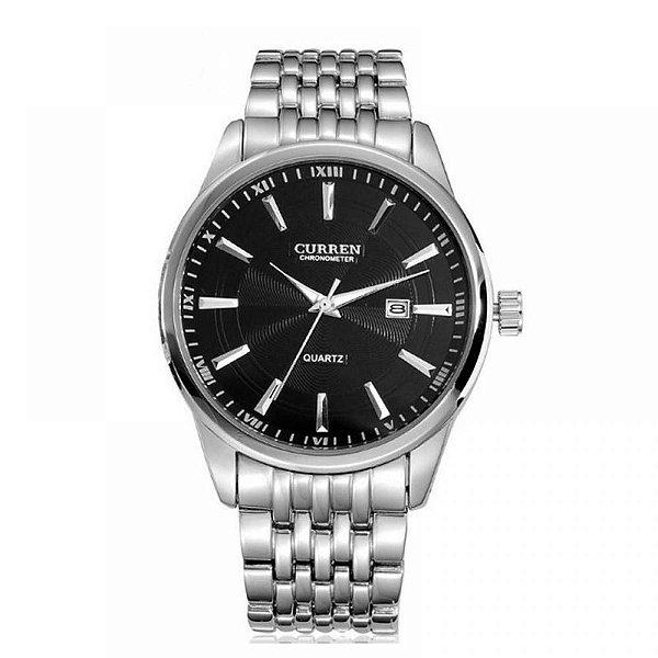 Relógio Masculino Curren Analógico 8052 - Prata e Preto