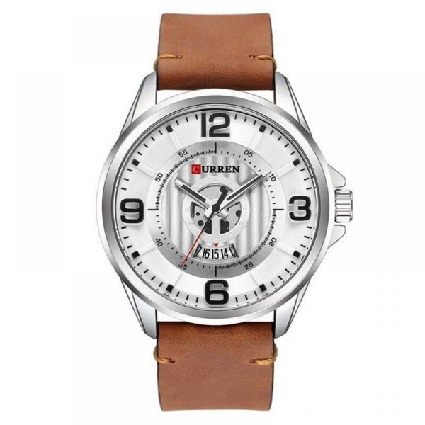 Relógio Masculino Curren Analógico 8305 - Marrom e Prata