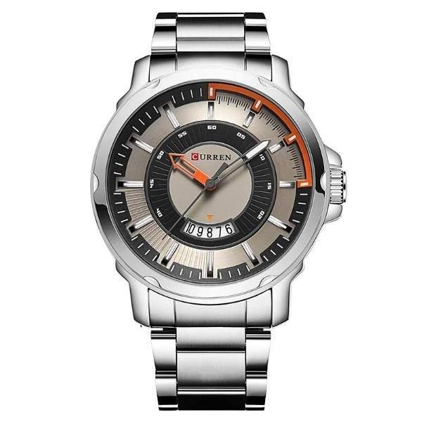 Relógio Masculino Curren Analógico 8229 - Prata, Preto e Laranja