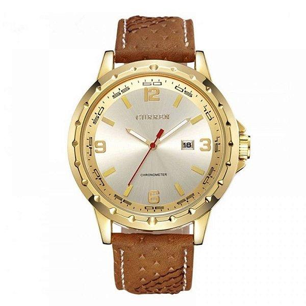 Relógio Masculino Curren Analógico 8120 - Marrom e Dourado