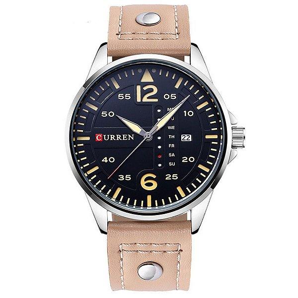 Relógio Masculino Curren Analógico 8224 - Bege, Prata e Preto