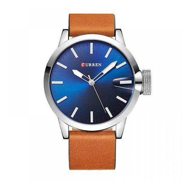 Relógio Masculino Curren Analógico 8208 - Marrom, Prata e Azul