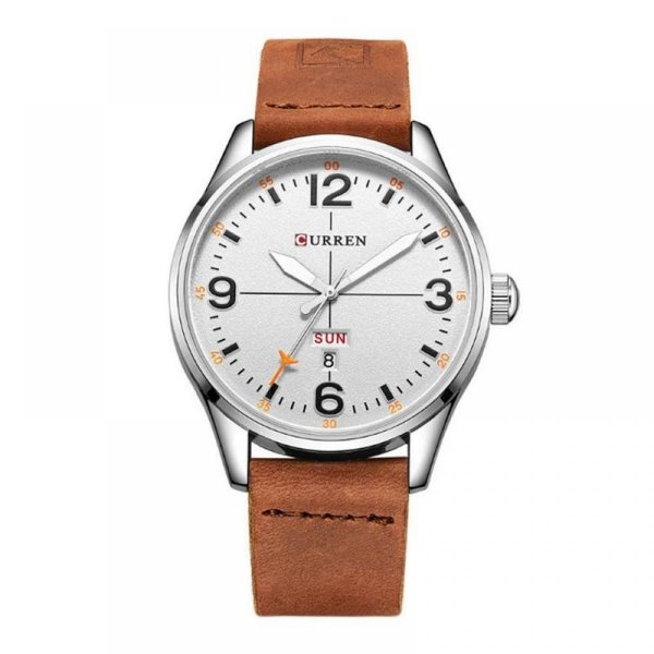 Relógio Masculino Curren Analógico 8265 - Bege, Prata e Branco