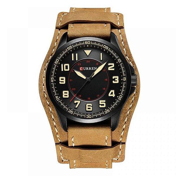 Relógio Masculino Curren Analógico 8279 - Bege e Preto